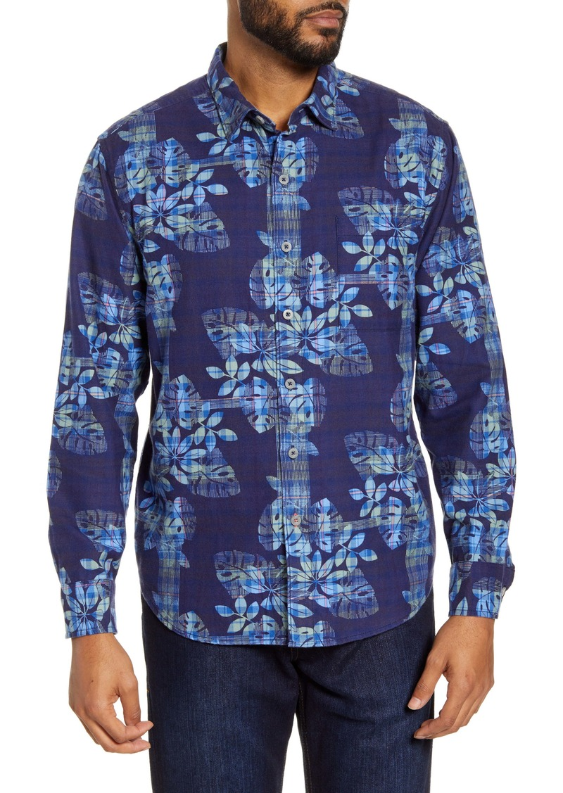 Tommy Bahama Ocean Deep Plaid Floral Button-Up Shirt