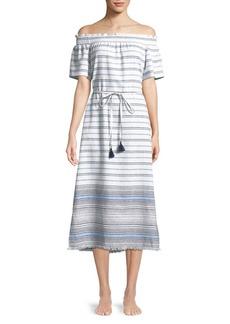 Tommy Bahama Off-Shoulder Frayed-Hem Stripe Coverup Dress