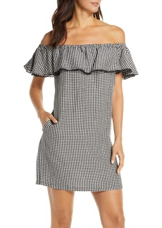 Tommy Bahama Off the Shoulder Gingham Cover-Up Dress