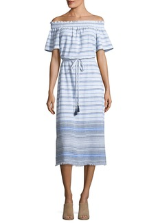 Tommy Bahama Off-the-Shoulder Striped Linen Midi Dress with Frayed Hem