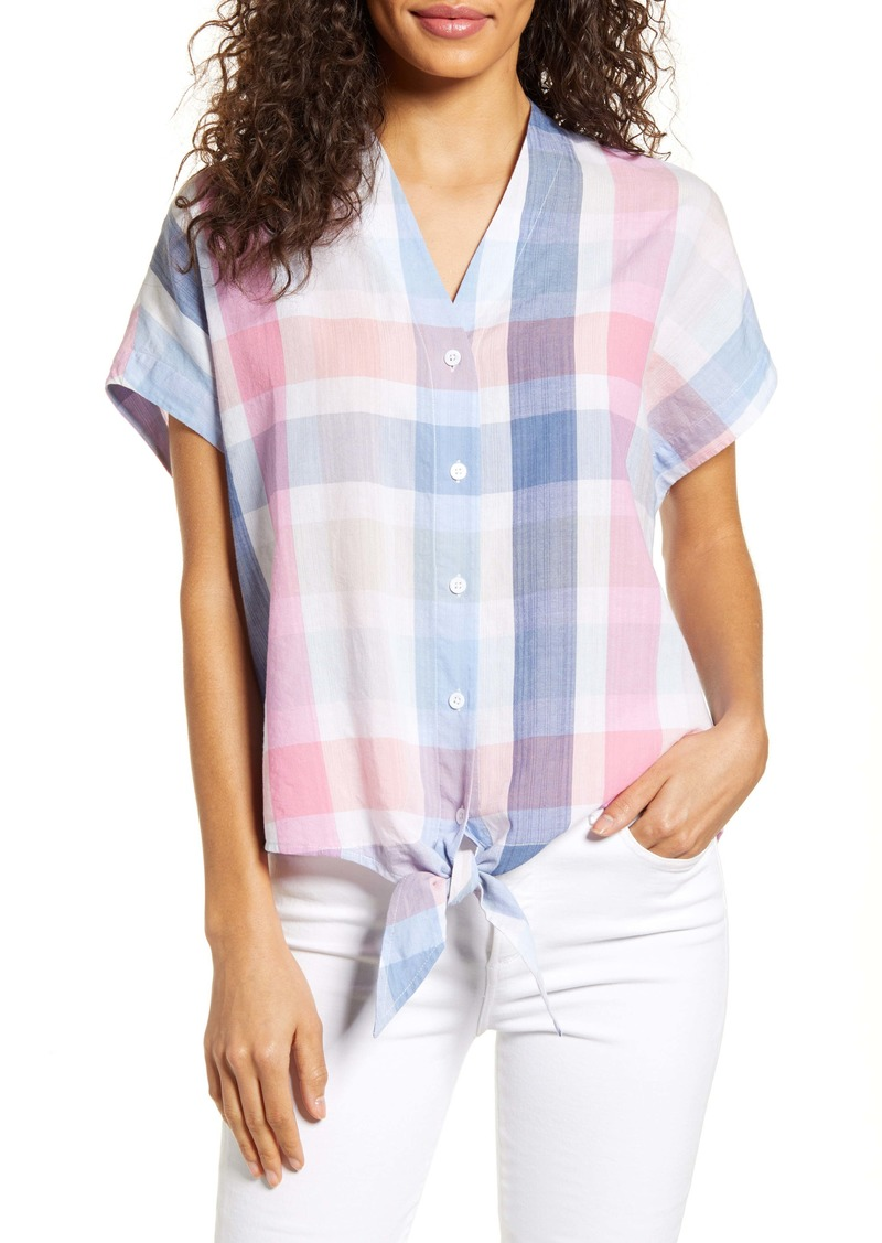 Tommy Bahama Padma Plaid Tie Front Top