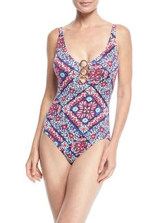 Tommy Bahama Persian Printed One-Piece Swimsuit w/ Ring Details