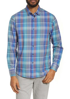 Tommy Bahama Plaid Stretch Cotton & Silk Button-Up Shirt