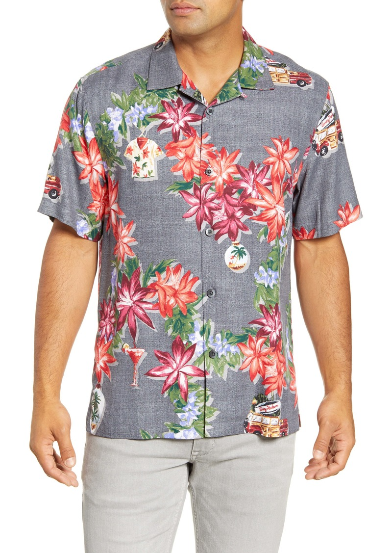 Tommy Bahama Poinsettia Holiday Short Sleeve Silk Button-Up Camp Shirt