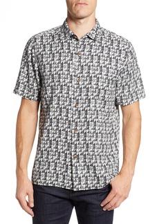 Tommy Bahama Poquito Geo Print Silk Sport Shirt