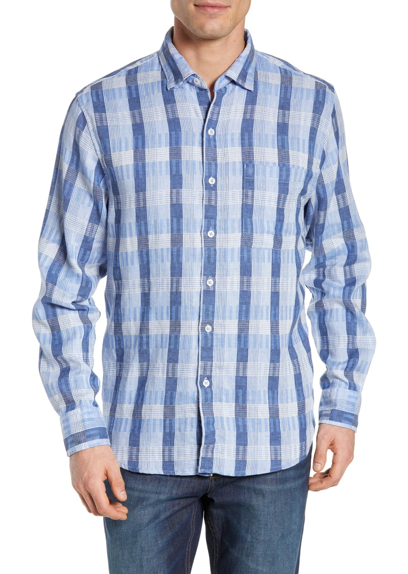 Tommy Bahama Puka Plaid Linen Blend Sport Shirt