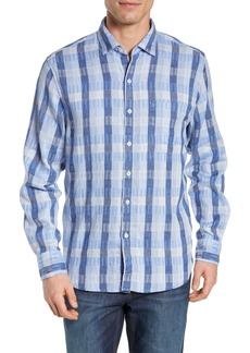 Tommy Bahama Puka Plaid Linen Blend Sport Shirt