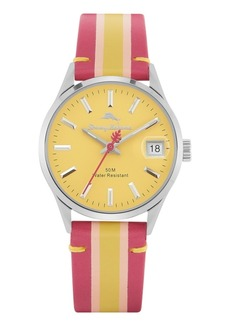 Tommy Bahama Santa Monica Red, Pink and Yellow Stripped Genuine Leather Watch