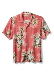 Tommy Bahama Shadow Bay Blooms Floral Short Sleeve Button-Up Silk Camp Shirt