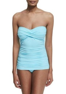 Tommy Bahama Shirred Twist-Front One-Piece Swimsuit