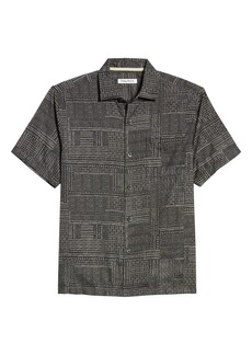 Tommy Bahama Short Sleeve Cotton & Silk Button-Up Shirt