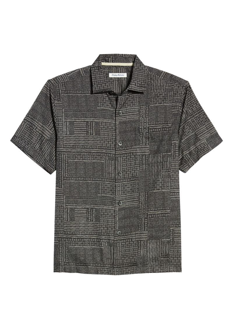 Tommy Bahama Short Sleeve Cotton & Silk Button-Up Shirt
