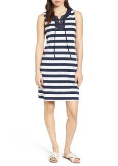 Tommy Bahama Stripe Right Lace-Up Stretch Cotton Dress