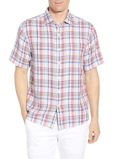 Tommy Bahama The Switch Up Classic Fit Plaid Short Sleeve Linen Blend Button-Up Sport Shirt