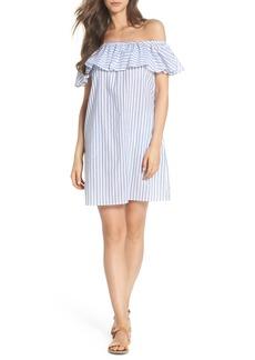 Tommy Bahama Ticking Stripe Off the Shoulder Cover-Up Dress