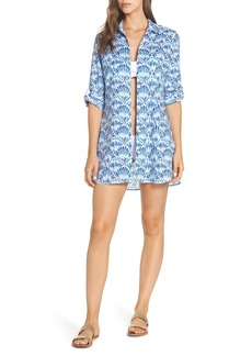 Tommy Bahama Tie Dye Seashells Boyfriend Shirt Cover-Up