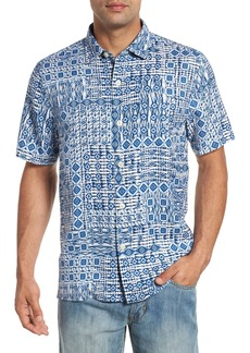 Tommy Bahama Tile Traveler Regular Fit Silk Camp Shirt
