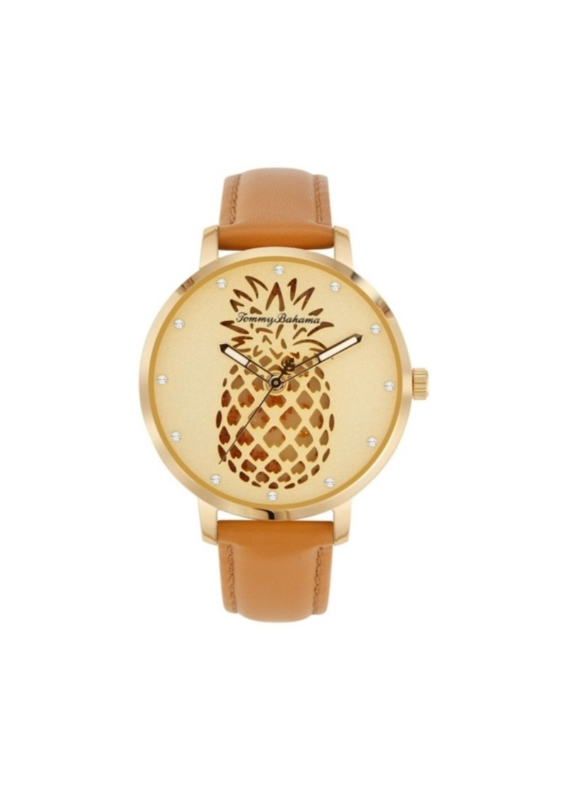 Tommy Bahama Women's Shaken Crystal Pineapple Brown Leather Strap Watch, 38mm