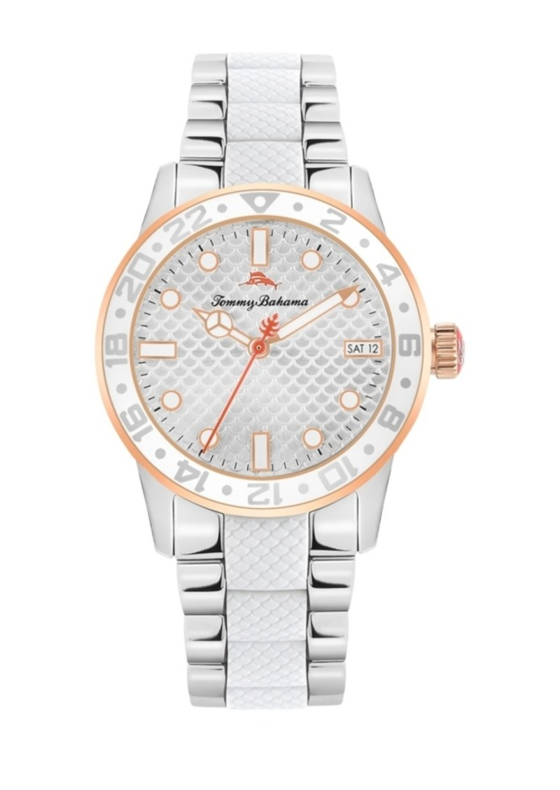 Tommy Bahama Women's Silicone Center Silver-Tone Steel Bracelet Strap Watch, 36mm