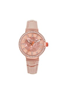Tommy Bahama Women's Woven Fronds Crystal Rose Gold Leather Strap Watch, 32mm
