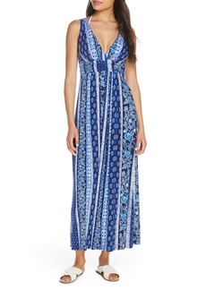 Tommy Bahama Woodblock Print Cover-Up Maxi Dress