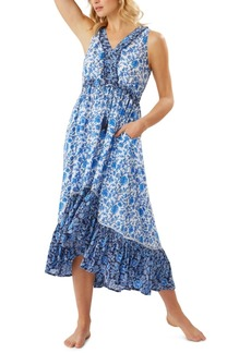 Tommy Bahama Woodblock Ruffle High-Low Cover-Up Dress Women's Swimsuit