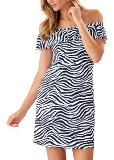 Tommy Bahama Zanzibar Zebra Stripe Off the Shoulder Minidress