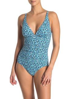 Tommy Bahama V-Neck One-Piece Swimsuit