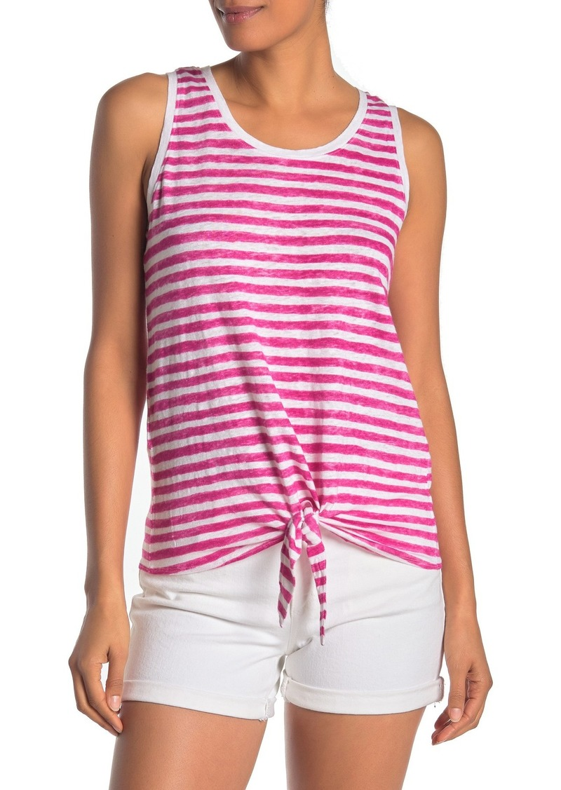 Tommy Bahama Viento Waves Linen Stripe Tie Hem Tank