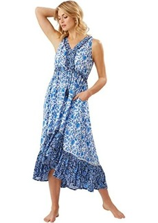 Tommy Bahama Woodblock Sleeveless Ruffle Dress