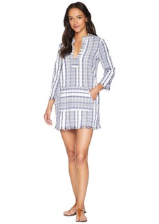 Tommy Bahama Yarn Dye Stripe V-Neck Popover Tunic Cover-Up