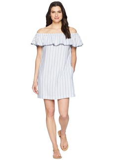Tommy Bahama Yarn-Dye Ticking Off Shoulder Ruffle Dress Cover-Up