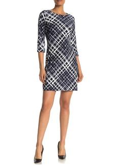 Tommy Hilfiger 3/4 Length Sleeve Diamond Print Sheath Dress