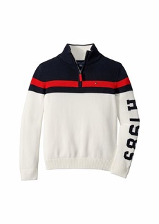 Tommy Hilfiger Adaptive Boys' Half Zip Sweater with Extended Collar Zipper (Little Kids/Big Kids)