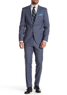 Tommy Hilfiger Blue Check Two Button Notch Lapel Slim Fit Suit