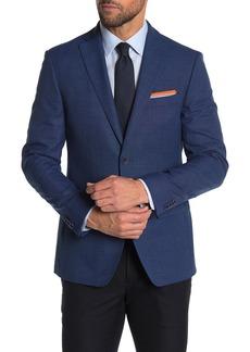 Tommy Hilfiger Blue Weave Two Button Notch Lapel Slim Fit Suit Jacket