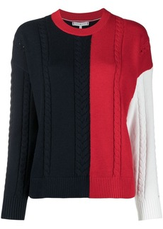 Tommy Hilfiger cable knit colour-block jumper