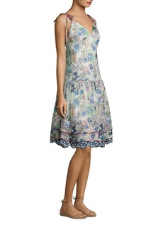 Cactus Print Silk Midi Slip Dress