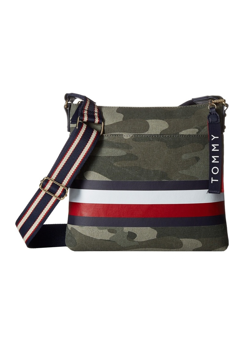 037e7dcbe414c6 Tommy Hilfiger Carmel Large North/South Camo Canvas Stripe Crossbody ...