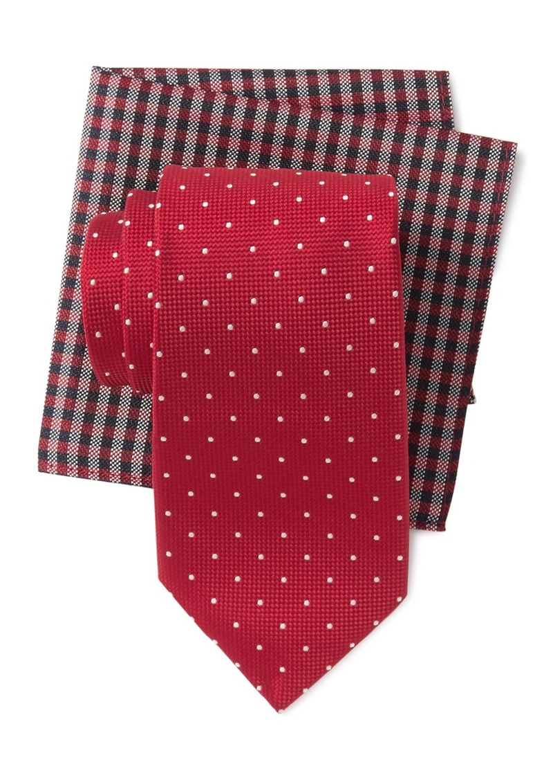 Tommy Hilfiger Classic Dot Tie & Gingham Pocket Square