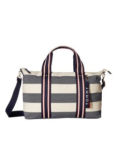 Tommy Hilfiger Classic Tote Convertible Weekender Woven Rugby