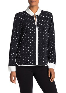 Tommy Hilfiger Collared Polka Dot Print Woven Blouse
