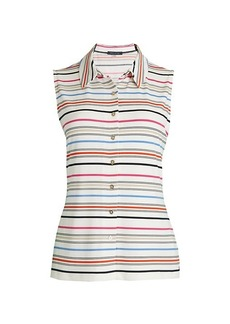 Tommy Hilfiger Collared Stripe Sleeveless Top