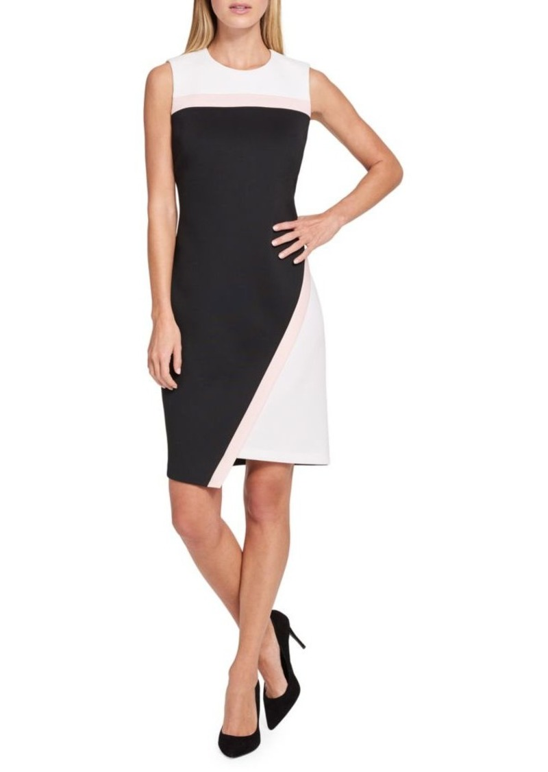 Tommy Hilfiger Colorblock Asymmetrical Scuba Sheath Dress