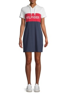 Tommy Hilfiger Colorblock Stretch Hooded T-Shirt Dress