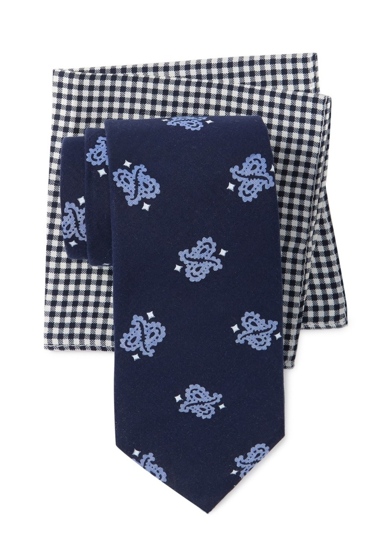 Tommy Hilfiger Crossed Paisley Tie & Gingham Pocket Square