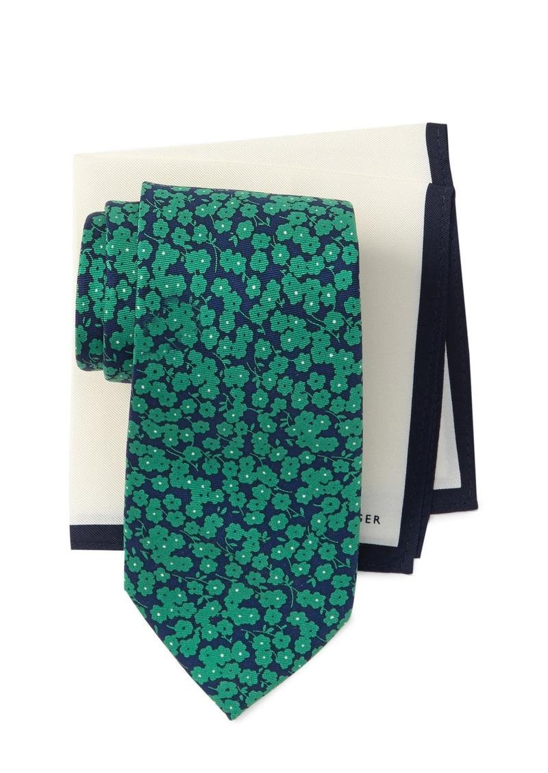 Tommy Hilfiger Dark Floral Tie & Bordered Pocket Square