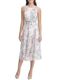 Tommy Hilfiger Diana Floral-Print Belted Chiffon A-Line Dress