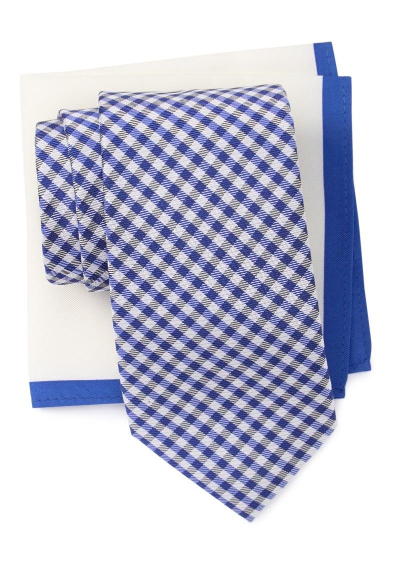 Tommy Hilfiger Dublin Gingham Tie & Solid Pocket Square
