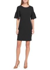 Tommy Hilfiger Embroidered Bell-Sleeve Scuba Crepe Sheath Dress